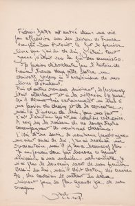 Lette manuscrite Jihel