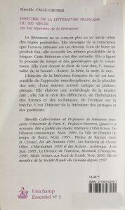 Histoire de la littérature française du 20ème siècle back