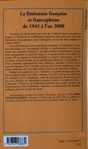 La littérature française et francophone back
