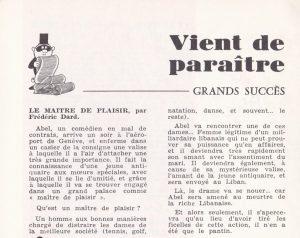 Informations Fleuve Noir n°98 avril 1973 parution le maitre de plaisir