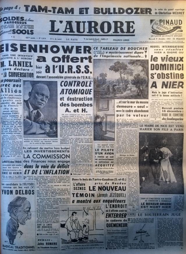 L'aurore 9 décembre 1953