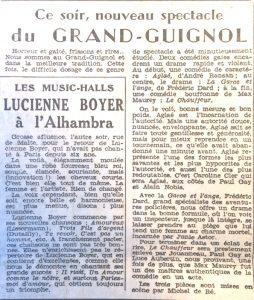 L'aurore 7 décembre 1953 Grand Guignol