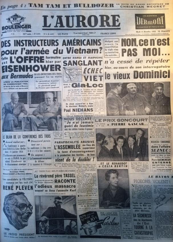 L'aurore 8 décembre 1953
