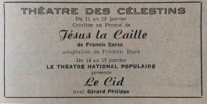 Lyon Spectacles n°85 publicité Jésus la Caille