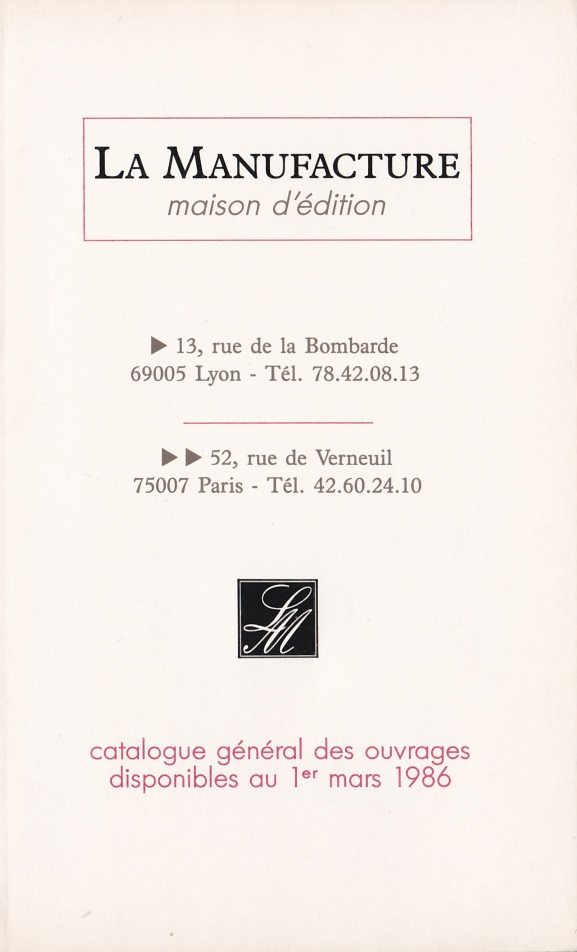 Catalogue La Manufacture