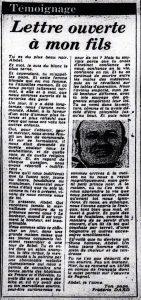 France soir 20 mars 1976 lettre ouverte à mon fils