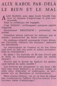 Informations Fleuve Noir n°106 décembre 1973 Alix Karol