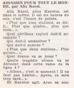 Informations Fleuve Noir n°108 février 1974 Alix Karol