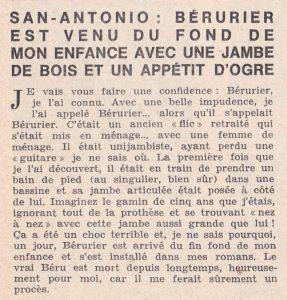 Informations Fleuve Noir n°28 avril 1967 Béru