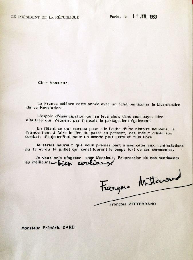 Invitation de François Mitterrand