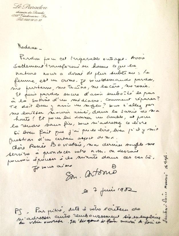 Lettre à Renée Boviatsis