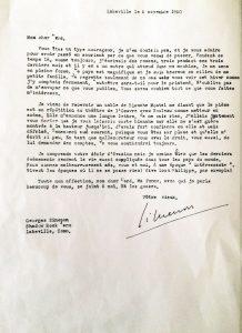 Lettre de Simenon du 5 novembre 1950