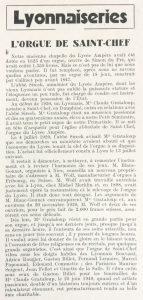 Reflets de la vie lyonnaise et du Sud-Est n°18 L'orgue de Saint-Chef