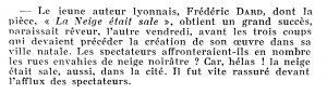 Reflets de la vie lyonnaise et du Sud-Est n°42 entrefilet F Dard