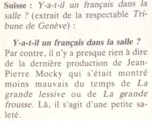 Le film français n°2295 critique Tribune de Genève