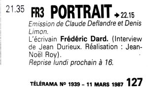 Télérama n°1939 émission portrait