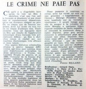 Cinéma 62 n°70 Le crime ne paie pas