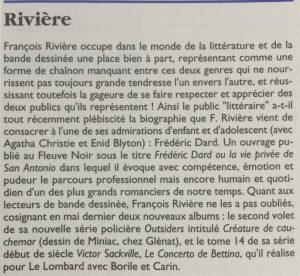 La lettre de Dargaud n°48 article sur Rivière