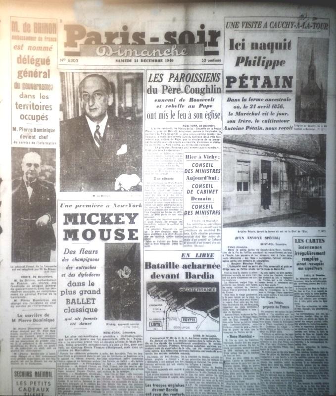 Paris-Soir n°6303 du 21 décembre 1940