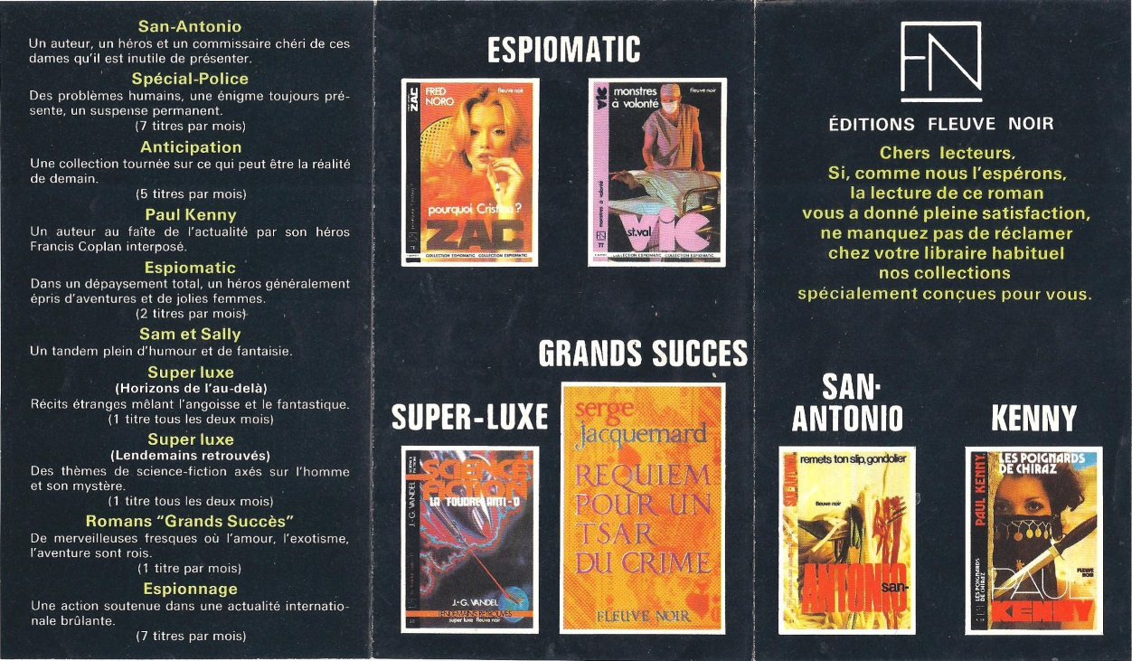Pub San-Antonio, Kenny et collections Fleuve Noir