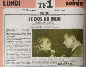 Télé Star n°210 Le dos au mur - présentation film