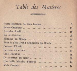 Lectures Omnibus n°18 table des matières