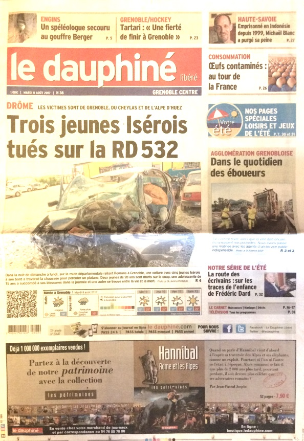 Le Dauphiné libéré 8 août 2017