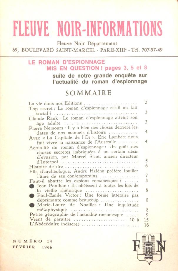 Informations Fleuve Noir n°14