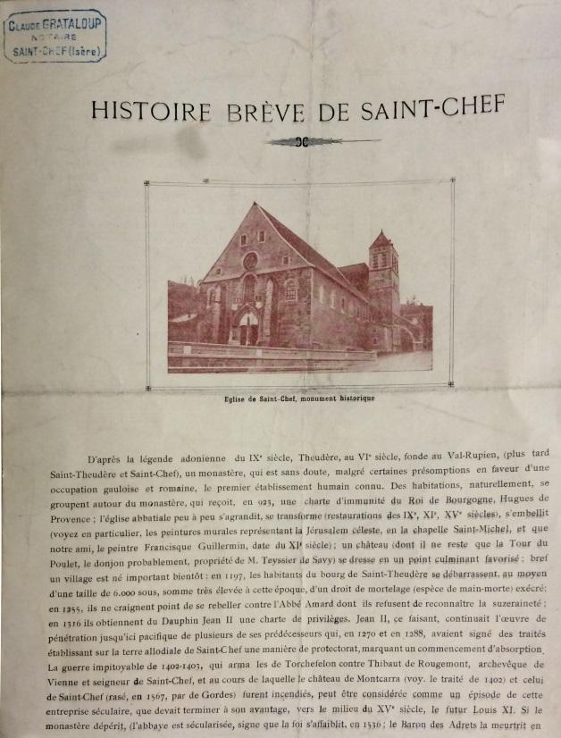 Histoire breve de Saint Chef