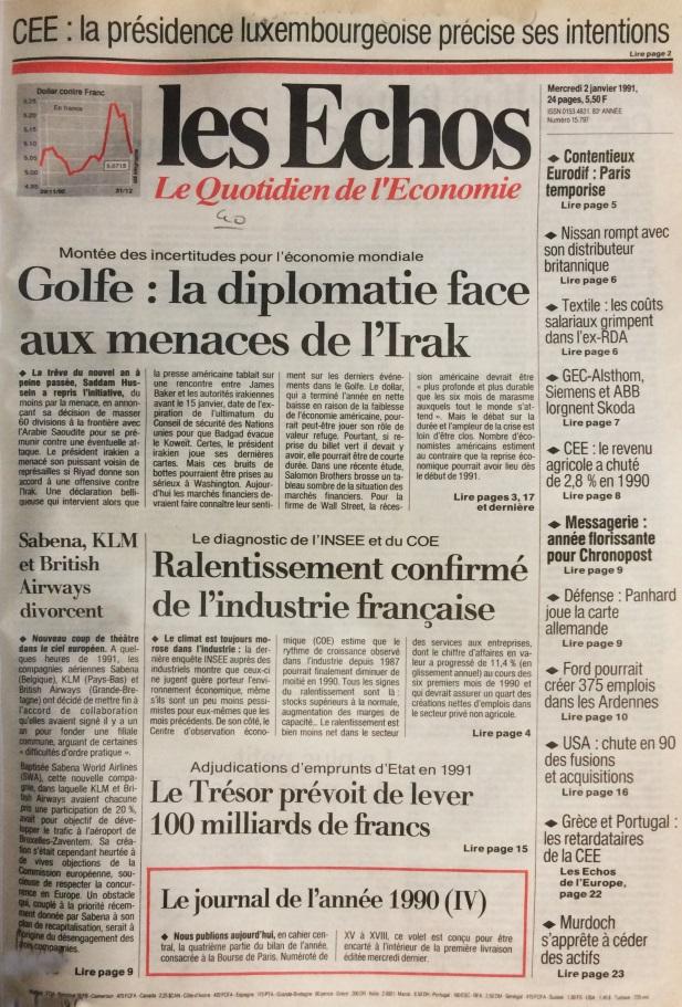 Les Echos 2 janvier 1991