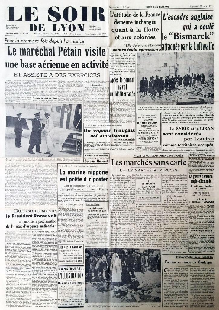 Le Soir de Lyon n°358 28 mai 1941