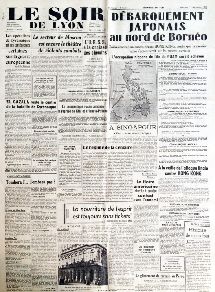 Le Soir de Lyon n°548 17 décembre 1941