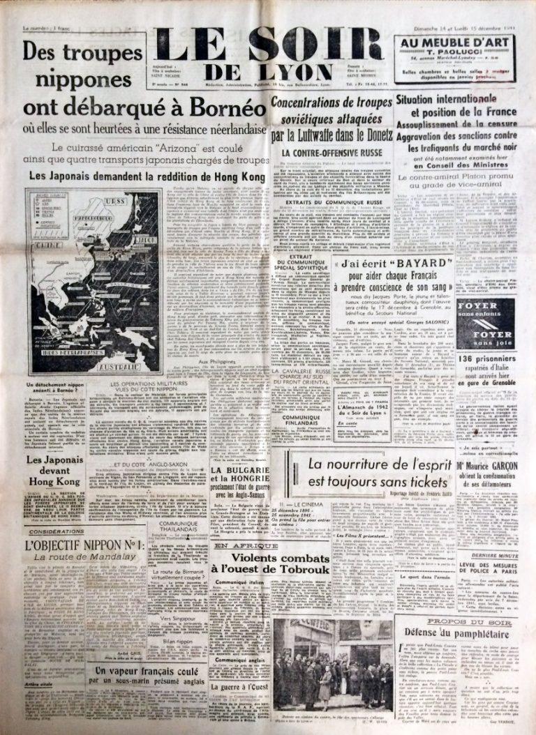 Le Soir de Lyon n°546 14 et 15 décembre 1941
