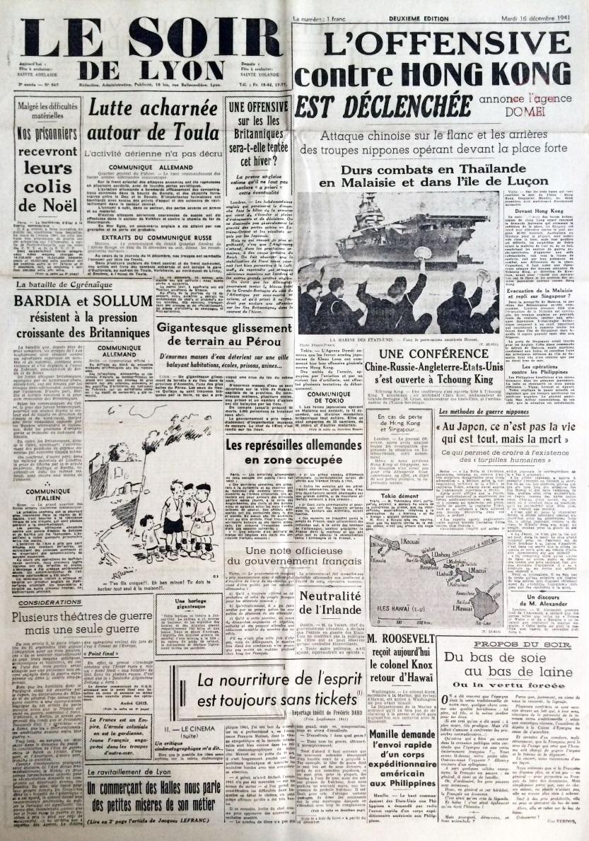 Le Soir de Lyon n°547 16 décembre 1941 .