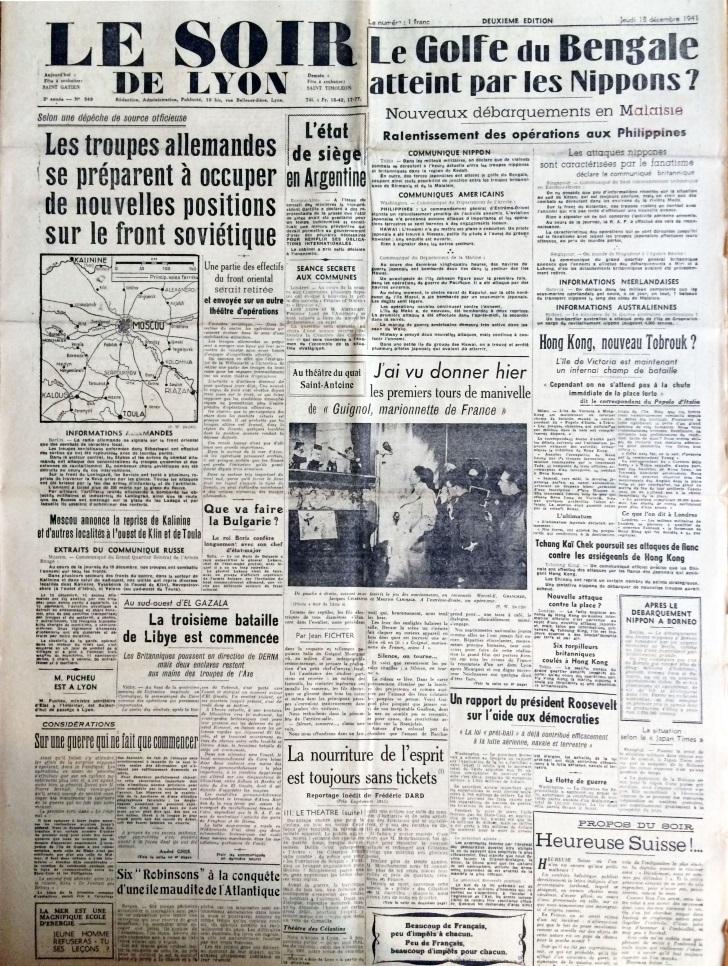 Le Soir de Lyon n°549 18 décembre 1941 .