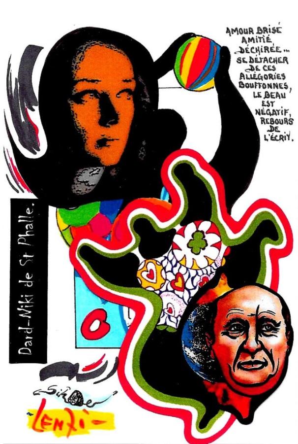 CPM LARDIE Jihel LENZI Frédéric DARD San Antonio Niki de Saint Phalle tirage signé numéroté en 30 exemplaires 2