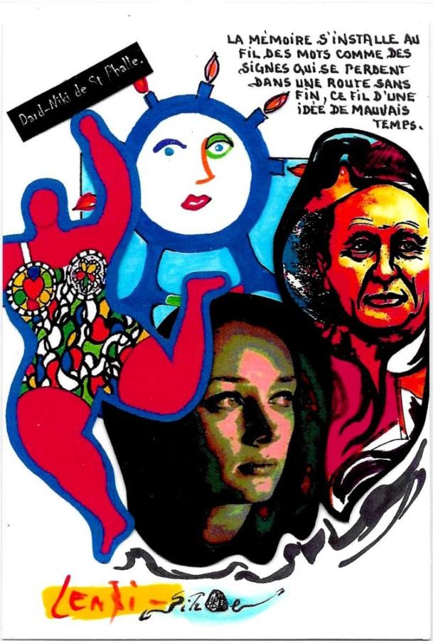 CPM LARDIE Jihel LENZI Frédéric DARD San Antonio Niki de Saint Phalle tirage signé numéroté en 30 exemplaires 3