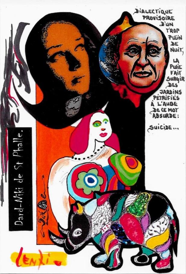 CPM LARDIE Jihel LENZI Frédéric DARD San Antonio Niki de Saint Phalle tirage signé numéroté en 30 exemplaires 4