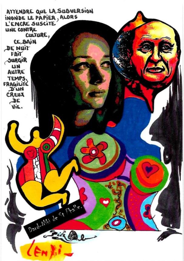 CPM LARDIE Jihel LENZI Frédéric DARD San Antonio Niki de Saint Phalle tirage signé numéroté en 30 exemplaires 5