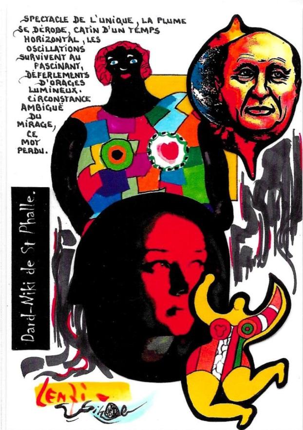 CPM LARDIE Jihel LENZI Frédéric DARD San Antonio Niki de Saint Phalle tirage signé numéroté en 30 exemplaires