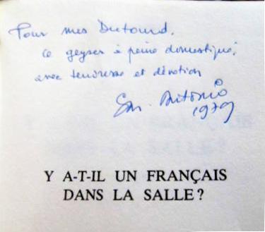 Dedicace Dutourd Y a t-il un Français dans la salle