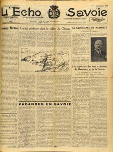 L'Echo de Savoie 29 juillet 1939