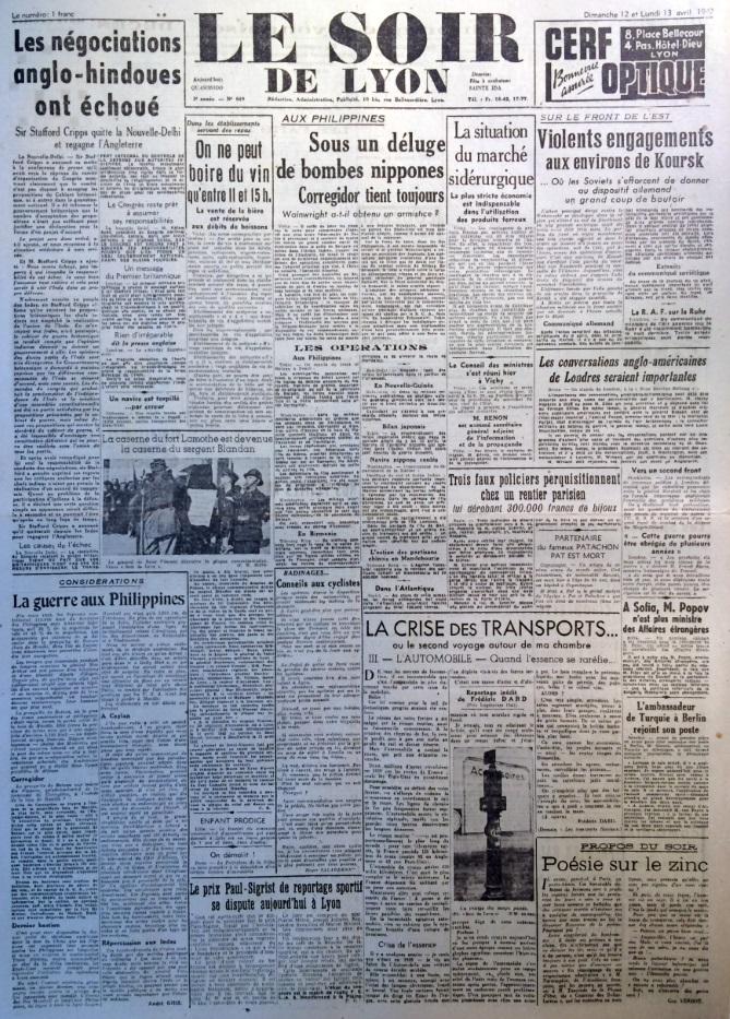 Le Soir de Lyon n°649 12 et 13 avril 1942 a