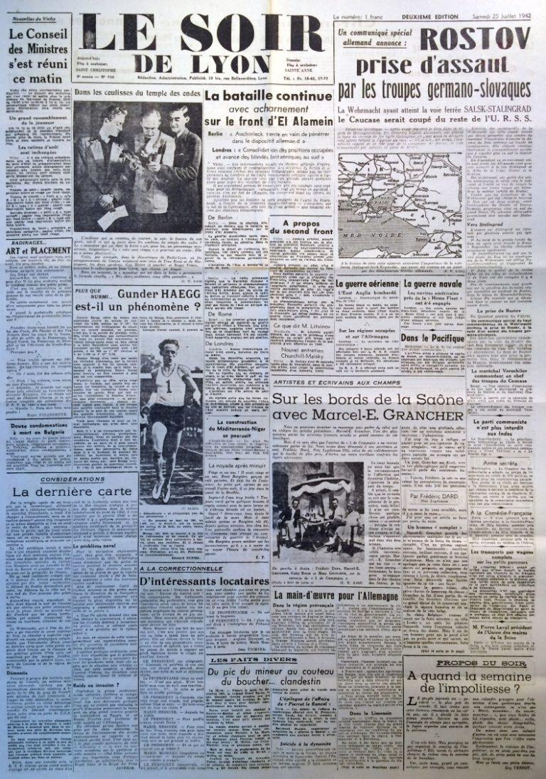 Le Soir de Lyon n°738 25 juillet 1942