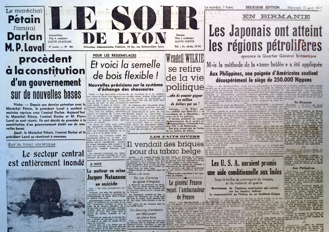 Le soir de Lyon n°651 15 avril 1942