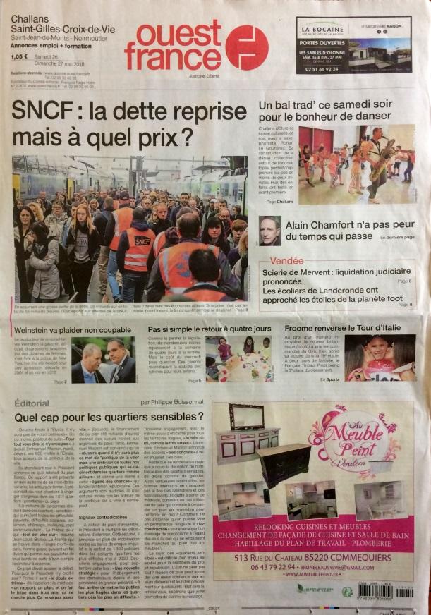 Ouest France 26 et 27 mai 2018