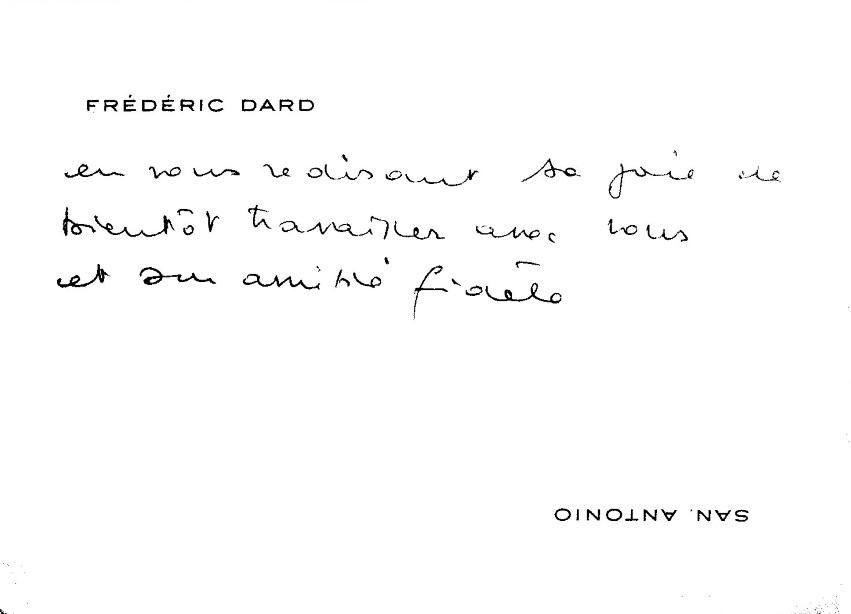 CV de 3 lignes manuscrites de Frédéric Dard à Jean-Jacques Bricaire