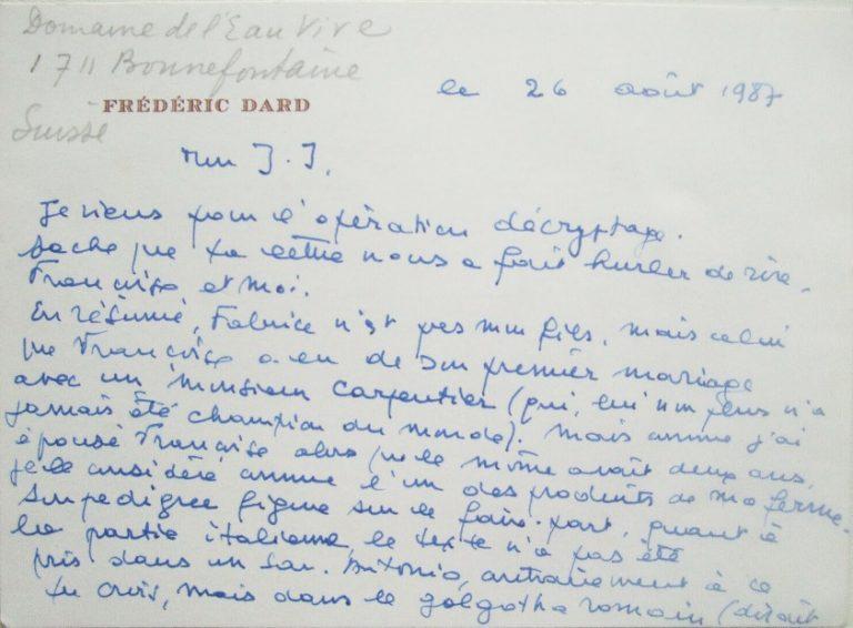 Lettre de F. Dard à J-.J. Bricairede Fabrice et de Baby-Meurtre