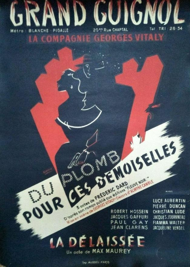 Affiche théatre Du plomb pour ces demoiselles 1952 40 sur 60 cm