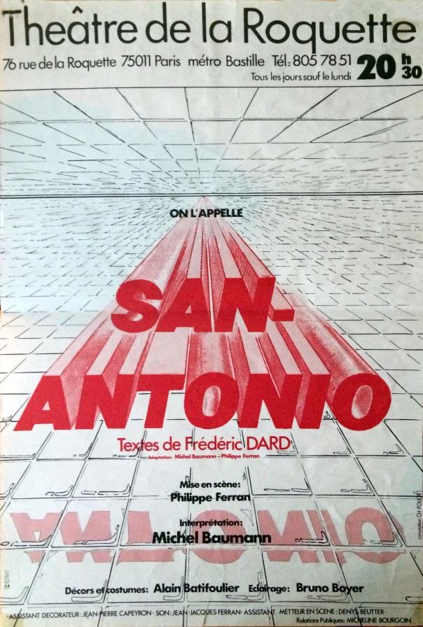 Affiche théatre Roquette On l'Appelle San-Antonio